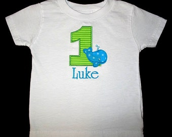 Custom Personalized Applique Birthday Number WHALE and NAME Shirt or Bodysuit - Turquoise and Lime Green