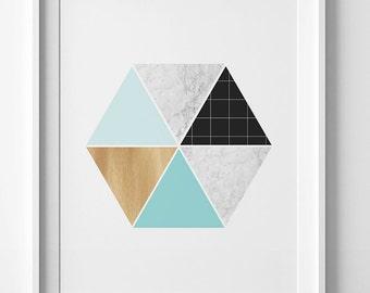 Hexagon art, geometric hexagon print, printable art, minimalist home decor, Nordic design, downloadable art, Scandinavian art, digital print
