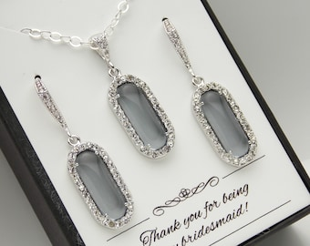 Gray Bridesmaid Jewelry Set, Gray Earring and Necklace Set, Gray Earrings, Gray Necklace, Charcoal, Grey, Sterling Silver, Bridesmaid Gifts