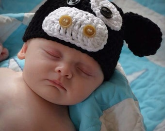 Baby Angus Cow Beanie, Newborn to 3 Months, 3 to 6 Months, Photo Prop
