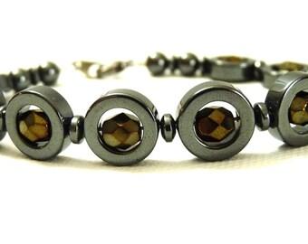 Captured Pyrite Hematite Loop Bracelet