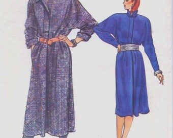 80s Womens Coat Dress Pullover Dress Vogue Sewing Pattern 8768 Size 8 10 12 Bust 31 1/2 to 34 UnCut Vintage Vogue Sewing Patterns
