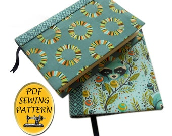 A5 book cover sewing pattern, with free tutorial for any size of cover. A5 planner cover pattern, Hobonichi cover. PDF download