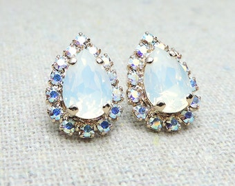 Swarovski Crystal White Opal Iridescent Pave Halo Pear Post Earrings Rose Gold Earrings Bridal Jewelry Wedding Earrings Bridesmaids Gifts