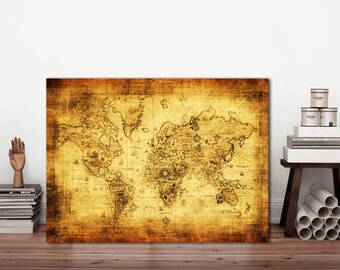 Map of the world, World Map sign, Metal sign, Vintage metal sign, Rustic world map, Map sign, World Map, Metal sign Map, Old world map