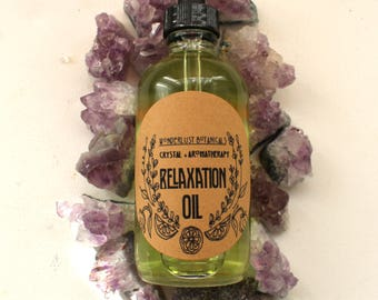 Relaxation Aromatherapy Body Oil. essential oils and selenite crystal infused massage oil. with lavender, ylang ylang, marjoram, vetiver,