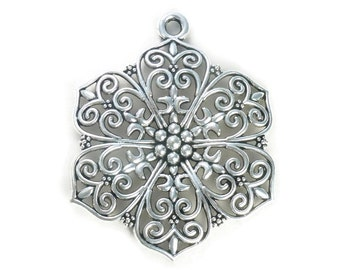 1 Filigree Silver Flower Charm Pendant SP0808