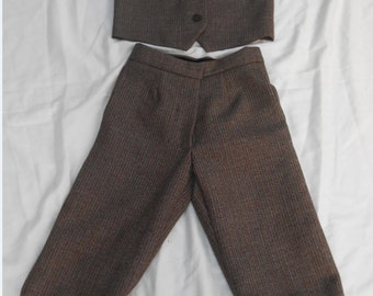 Edwardian-Style Knicker Suit. Boys Brown Wool Suit. Waistcoat and Knickerbockers. Page Boy Outfit. World Book Day. Historic Costume.