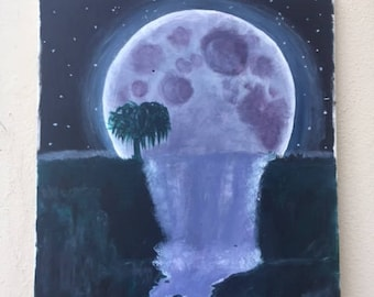 moon waterfall painting