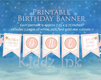 """Twinkle Twinkle """"ONE"""" 1st Birthday Banner   Cake Smash Banner   Pink and Gold   1st Birthday Photo Prop   Instant DIGITAL PRINTABLE Download"""