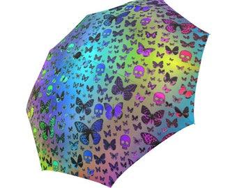 Rainbow Skulls & Butterflies, Foldable Umbrella, Rain gear, Cool Umbrella's, Butterfly Design, fun Umbrellas