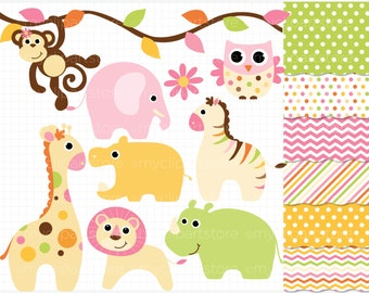 Clipart Combo - Baby Animals (Girl) / Safari Clip Art / Digital Clipart - Instant Download