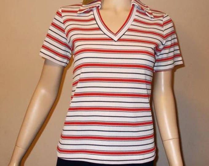 NWT 70s Mod K-Mart Red White Black Striped Polyester Womens Short Sleeve Pullover V-Neck Blouse Top
