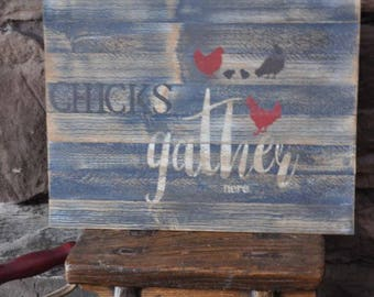 Chalky Wall Hanging Hens and Chicks Farm Style Rustic Decor CHICKS GATHER HERE