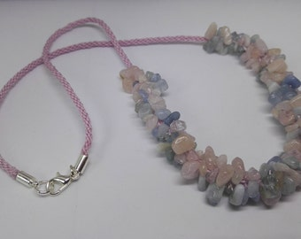 Genuine Aquamarine and Morganite Kumihimo Cord Necklace