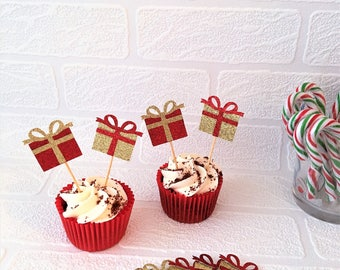 Present Cupcake Toppers, Set of 10, Christmas Party Picks, Festive Toppers, Food Tops, Xmas Party Decorations, Gift Toppers, Glitter Picks