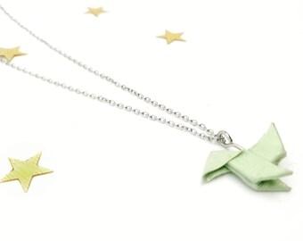 Collar origami, Collar PAJARITA, Collar mint, collar turquesa, Collar papel, Regalo para mujer,Collar pajarita de papel, Collar papiroflexia