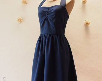 Navy Sundress Vintage Inspired Dress Navy Party Dress Classic Bridesmaid Dress Once Upon A Time
