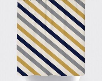 Mustard, blue, grey and white striped fabric shower curtain, high quality shower curtain, shower curtain, stripe, bathroom decor, home decor