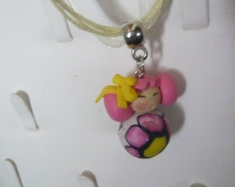 Pink and yellow polymer clay + gift kokeshi child necklace