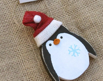 Wooden Penguin, Wood Ornament, Holiday Ornament, Christmas Penguin, Penguin Ornament, Wood Christmas Ornament, Wood Animal Ornament, Rustic