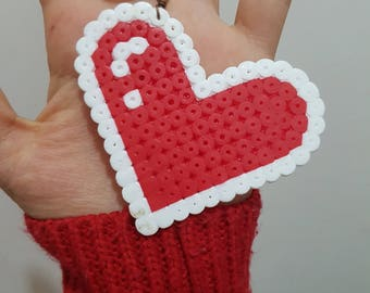 Heart Shaped keychain in Pyssla