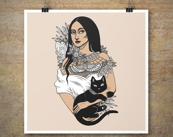 Custom Goddess Portrait - Illustrated Pen & Ink Portrait, Custom made illustration, Handmade deity print