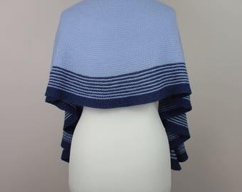 handknit blue crescent shawl, striped light blue dark blue scarf, woolen warm neckwarmer