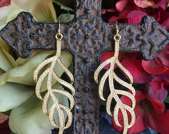 Gold Leaf earring w/ CZ