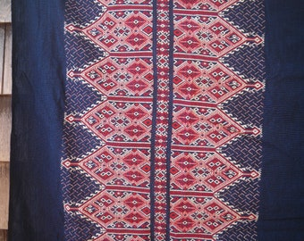"Vintage Handwoven Greek Fabric - 42"" x 51"" - Red White and Blue"