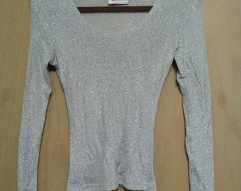 Clearance was 40 now 17.  80s Disco Fab Lurex Blouse by Cristina