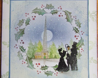 Handmade 7x7 traditional Dickensian Christmas card - Blank inside. For Family or Friends