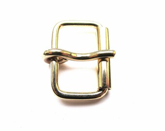 RECTANGULAR PIN AND ROLL VARNISH 23/27 MM GOLD BUCKLE