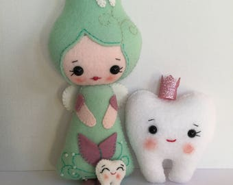 Tooth fairy plush wool felt soft toy doll, Noialand design.