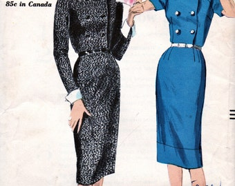 UNCUT Vintage 1950's Vogue Pattern 9838 *  Misses' Double Breasted Dress  - Factory Folded  - Bust 34