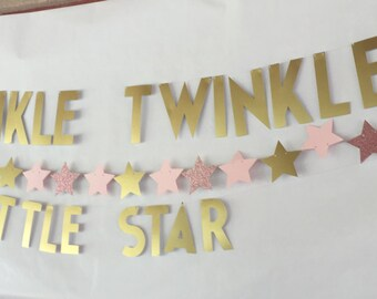 Twinkle Twinkle Little Star Birthday Banner / Baby Shower Banner/ Gold / First Birthday