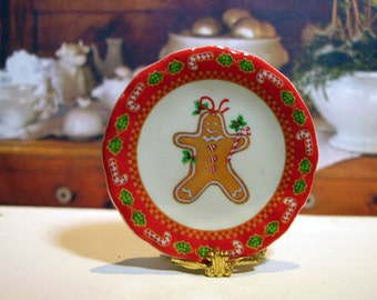 Gingerbread Man Miniature Plate for Dollhouse 1:12 scale