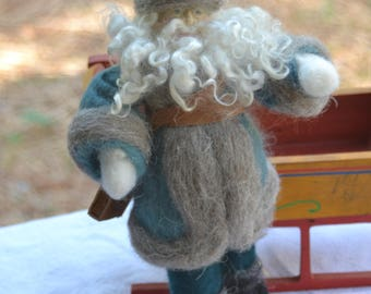 Teal and Tartan Santa Claus Father Christmas Needle Felted ready to ship