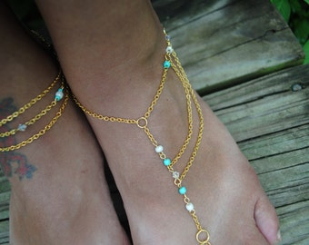 Golden Slave Anklet Dainty Duo//Golden Chain Barefoot Sandal
