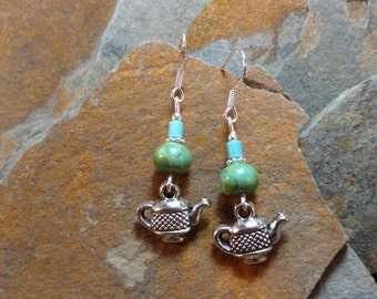 Tea Kettle and Green Tea Sterling Silver Earrings, Tea Kettle Earrings, Green Tea Turquoise Sterling Earrings, Turquoise Tea Earrings