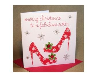 Christmas Sister Card  (jewelled)