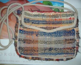 Vintage Woven Rag Rug ~ Colorful Boho Cross body ~ Shoulder Bag ~ Mister Ernest PURSE Made in Italy ~