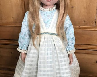 "Aqua print cotton doll dress cluny lace vintage pinafore 24""-26"" lined"