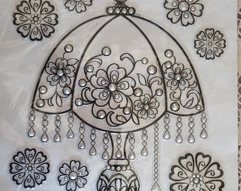 Print stickers deco lamp and flowers 30 x 41cm
