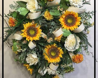 Sunflower Wreath, Summer Wreaths For Front Door Wreaths, Spring Summer Wreath, Floral Wreath Wreathes, Summer Door Wreath, Front Door Decor