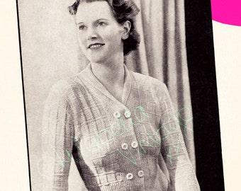 Ladies 1940s Cardigan Knitting Pattern PDF Instant Download
