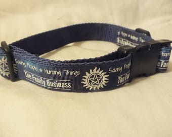 Supernatural glow in the dark pet collar with 'Saving people, hunting things'  11 - 17.5 inches