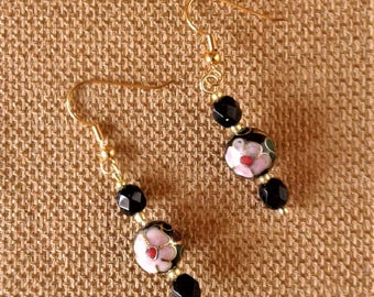 Earrings with Vintage Cloisonne' Beads