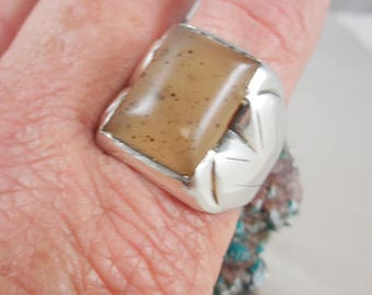 Vintage Mens Sterling Agate Ring Stamped and signed
