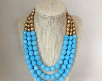 Light Blue Statement Necklace, Chunky Beaded Necklace, Multi Strand Neckace, Beaded Bib Necklace, Necklace for Women, Bridesmaids Jewelry